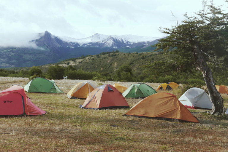 Tent city at the busiest campsite on the w trek and o circuit. Money Saving tips for South America