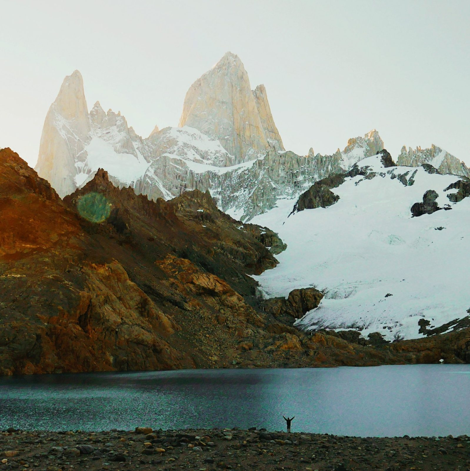 An incredibly humbling picture of fitz roy mountain on a multi-day trek in the region